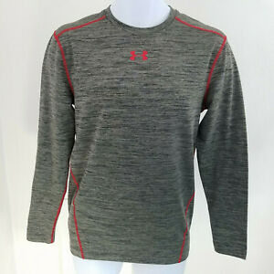 Under Armour Cold Gear Mens Large Long Sleeve Compression Crewneck Gray Red $18.49
