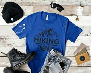 MEN WOMENS BLUE SHORT SLEEVE T SHIRT with HIKING IS MY THERARY PRINT $14.77