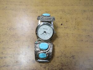 Effie C. Calavaza Zuni Snake Turquoise Sterling Silver Watch Tips Band
