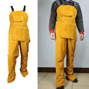 Leather Welding Split Leg Apron with Pocket Heat Flame Protection for Men $53.85