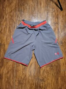 Under Armour Shorts Large Athletic Lightweight Gray Red EUC $9.99