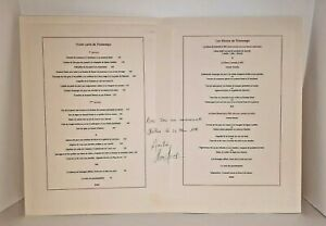 Signed Restaurant Menu MARC MEURIN signed by CHEF MARC MEURIN 1998 $99.43