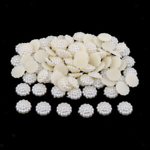100 Pieces Half Pearl Bead Flat Back Half Round Pearl for DIY Decoration $7.33