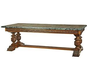 Antique Table Library Oak Italian Green Marble Top Massive 1800#x27;s 19th C. $6950.00