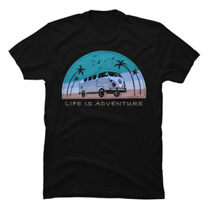 Life is Adventure RV Camping T Shirts Happy Camping Gift Tee for Men Women $12.95