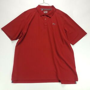 Under Armour Polo Shirt 3XL Solid Red HeatGear Loose Mens $13.59