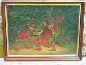 Antique Baskets of Strawberries Still Life Oil Painting by J. P. Hayward 1911 $195.00
