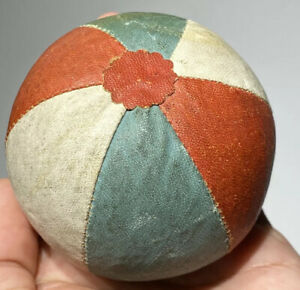 Antique Early Sewing Oil Cloth Ball Pin Cushion Sewing Oil Cloth Beach Ball Nice $299.99