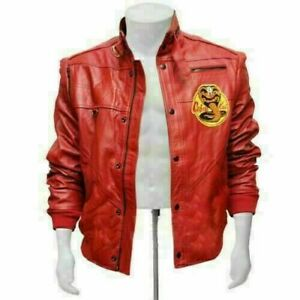 Cobra Kai Johnny Lawrence The Karate Kid Red Bomber Cow Leather Jacket For Men