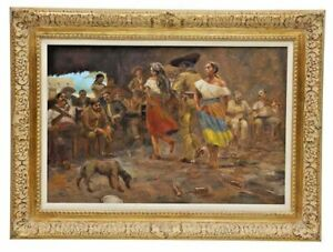 Painting OilSigned Saloon Lovers Western Mexican Charles W. Shaw D.2005 $1795.00