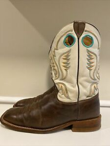 Justin Bent Rail Austin Grizzly Brown Square Toe Cowboy Western Boots Size 10 EE