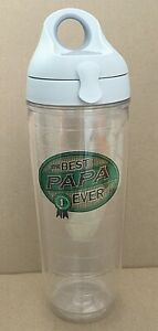 Tervis Tumbler 24oz Best Papa Ever Flip Top Snap Lid Insulated Water Bottle Cup