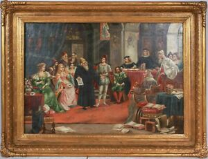 Antique Painting Continental Oil Gilt Frame 1800s Court Scene Signed $1995.00