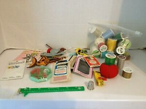 Lot of Vintage Sewing Supplies Thread Pin Cushions Needles Patches Ruler $18.00