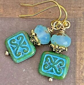 Etched Gold Blue and Green Picasso Bead Earrings $6.99