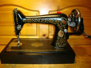 ANTIQUE SINGER SEWING MACHINE MODEL 66 quot;RED EYEquot; HAND CRANKLEATHERSERVICED $250.00
