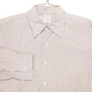 Brooks Brothers Dress Shirt 17 33 Makers USA Red White Supima Traditional Mens $26.99