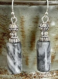 Silver and Striped Gray Stone Bead Earrings. Boho Chic. $6.99