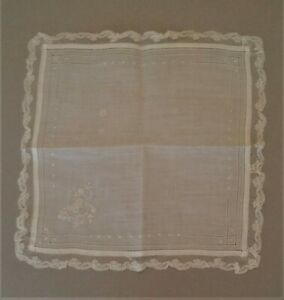 Hanky Handkerchief Antique Thread Embroidery Monogram And Days Hand Lace $19.68