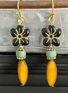 Long Etched Gold Earrings with Black Flower and Earthy Bead Earrings. Boho $7.99