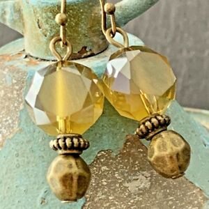Bronze and Smoky Topaz Picasso Czech Bead Earrings. $6.99