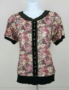 Womens Multi Floral Casual Short Sleeve Blouse T Shirt Pullover Sweater Size M L $11.99