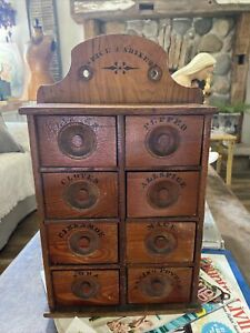 Antique Wood 8 Drawer Spice Apothecary Wall Cabinet Box Primitive Vintage $115.00