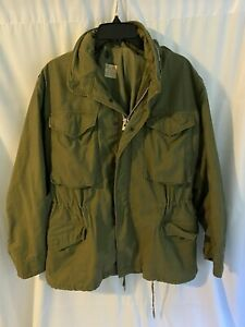 Vintage Military Army Mens Field Coat With Hood Small Short OG 107 100 69 C 2483 $55.00