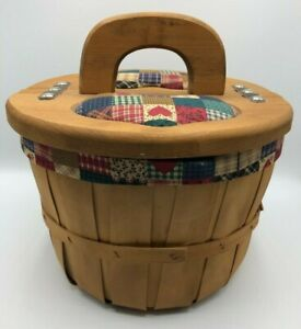 Sewing Basket Wood Handle Sides Open Cloth Heart Cutouts Apple Basket Leather $21.99