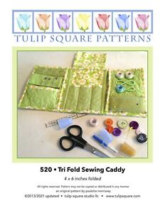 Quilted Sewing Caddy Pattern Tri Fold Sewing Caddy by Tulip Square Studio #520 $9.95