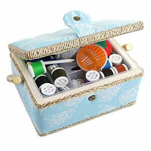 Sewing Box with Accessories Sewing Storage and Organizer with Large Blue Flower $47.21