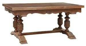 Antique Table Dining Renaissance Revival Oak Draw Leaf Table Early 1900s $1195.00