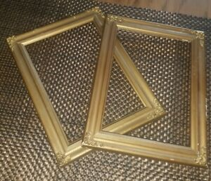 PAIR of Pretty Vintage GOLD Wood Highly ORNATE Frames 8.5quot; x 6.5quot; $15.00