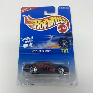 1997 Vintage Hot Wheels Collector #471 VELOCITOR Black w Chrome Lace Spoke Wheel $7.99