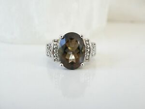 Estate Sterling Silver 925 8ct Light Smoky Topaz Solitaire Modern Ring Size 7 $49.99