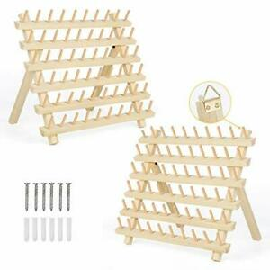 60 Spool Thread Holders 2 Pack Wooden Thread Rack Sewing Organizer with $34.56