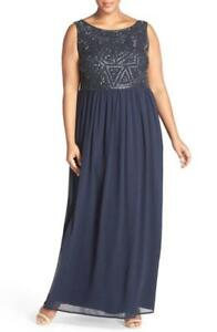 Adrianna Papell Beaded Bodice A Line Gown Size 18W Plus F# 14 $45.00