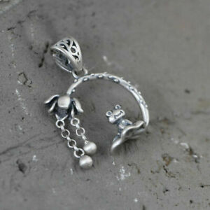 925 Sterling Silver Frog Lotus Charm Pendant A2836