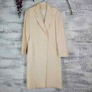 Vintage By Appointment Women Long Wool Collared Cream Peacoat Jacket Sz 4 $50.00