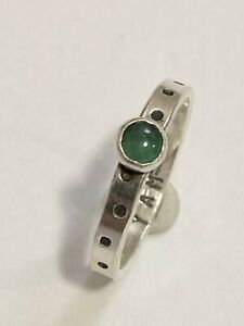 Sundance Catalog Dotted Emerald Sterling Silver 925 Ring Vintage Cabochon 6.25 $55.00