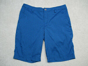 Under Armour Golf Shorts Mens 34 Blue Plaid Match Play Flat Front $22.86