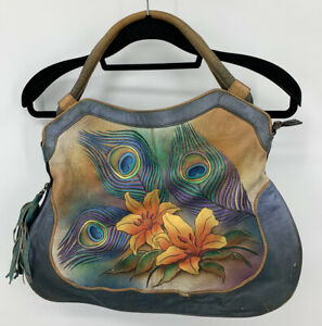 Anuschka Leather Hand Painted Satchel Handbag Purse Peacock See Pictures $44.00
