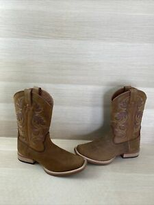 Justin COWMAN Cognac Leather Square Toe Pull On Western Boots Men's Size 10 D