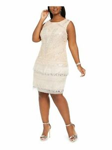 ADRIANNA PAPELL Pink Sleeveless Above The Knee Dress 16W $64.99