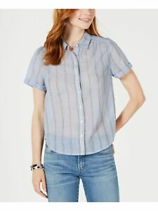 LUCKY BRAND Womens Blue Striped Short Sleeve Collared Button Up Top Size XL