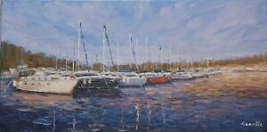 Sean Wu original oil painting 10x20 on stretched canvas sailboat