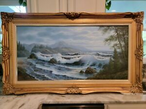 Vintage Seascape oil painting signed by renowned artist June Nelson Framed $599.00
