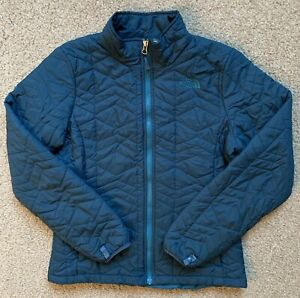 North Face Outdoor Full Zip Quilted Puffer Jacket Women Medium Blue Color Great $44.95