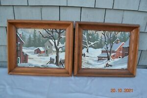 Vintage oil paintings pastoral winter scenes 2 available $12.00