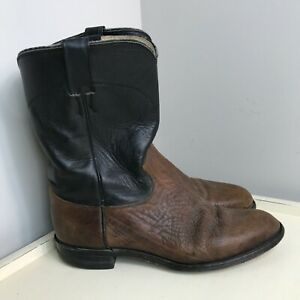 Men#x27;s Justin Brown Black pull on Leather Western Cowboy Boots Size 10D